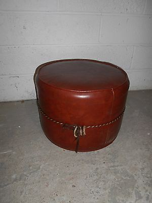 Small Lightweight Brown Faux Leather Foot Pouffe (#1192)