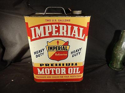 Vintage 2 Gallon Imperial Motor Oil Can Gas Garage