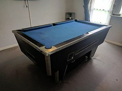 Pool Table 6 x 3 Slate Bed Black Silver Blue Cue Balls Snooker Billiards - Used