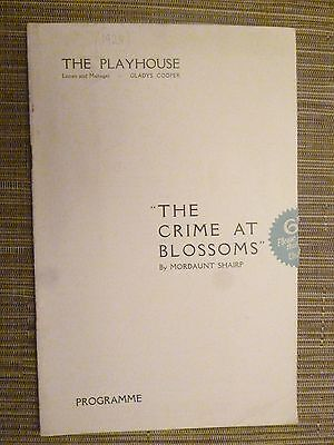 1929 Theatre Programme THE CRIME AT BLOSSOMS - MARGERY PHIPPS-WALKER JOYCE BLAND