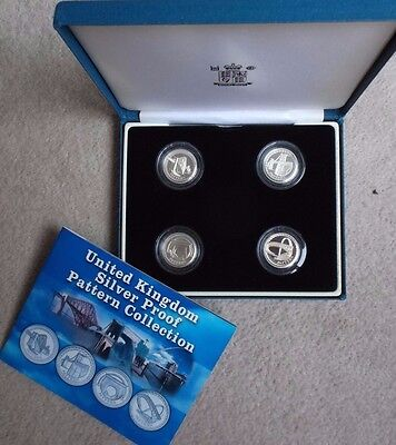 2003 Silver Proof Pattern 4 X One Pound Coin Set In Box + Booklet. Royal Mint.