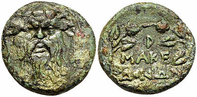 FORVM VF Roman Macedonia AE23 Facing Mask of Silenos / MAKEDONWN in wreath