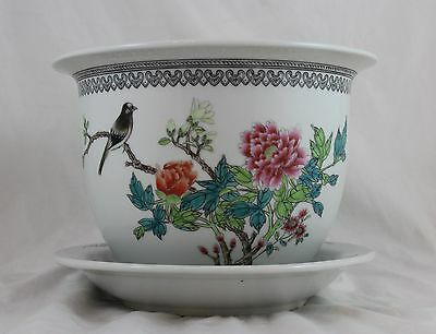 Antique Chinese Famille Rose Porcelain Jardiniere Republic Period C1930