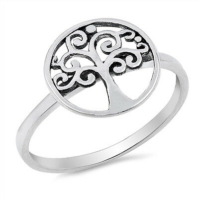 925 Sterling Silver Tree Of Life Circle Ring