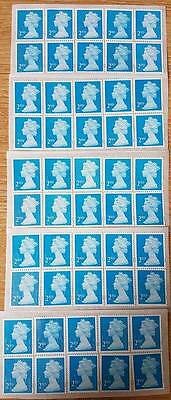 50 Blue 2Nd Class Security Stamps Unfranked With Gum, Easy Peel & Stick!