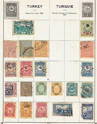 Turkey 1892 onwards  album page Used and a couple Mint MH