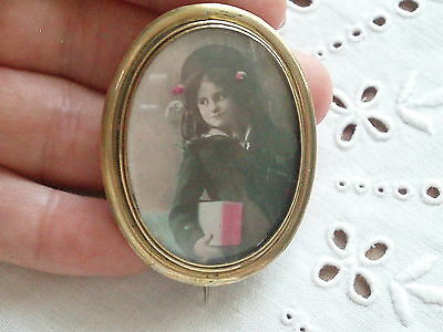 Large Antique Victorian Rolled Gold Sweetheart Photo Locket Brooch