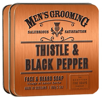 Mens Grooming Scottish Thistle & Black Pepper Face & Beard Soap In Gift Tin