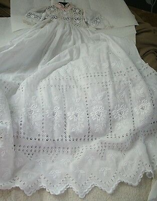 Vintage Christening Gown/Embroidered Cotton/39 inches- 100 cm/see pics