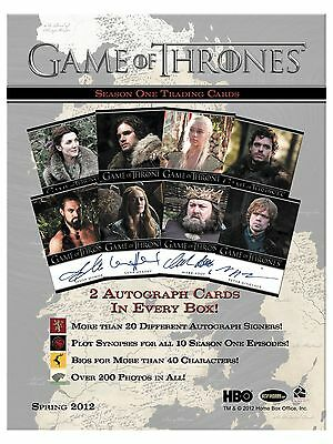Game of Thrones Factory Sealed Case Season 1 Trading Cards 12 Box 24 Autographs