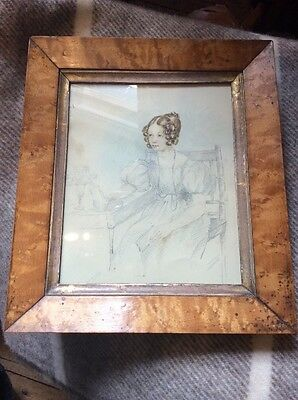 Pretty Pencil And Watercolour Painting Of Pretty Lady 19th Century Maple Frame