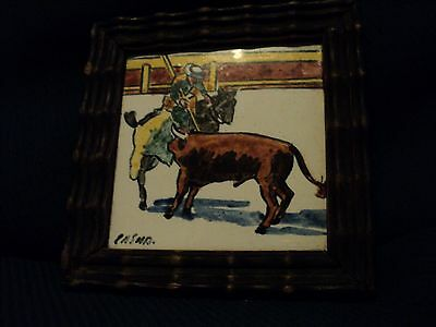 Vintage Hand Painted Tile Matador on Horseback Spearing a Bull Framed & Signed