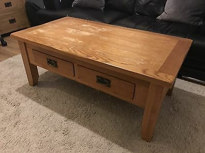 Rustic Solid Oak 4 Drawer Coffee Table 349 Picclick Uk