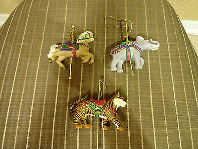 ( 3 ) Avon Carousel Animals for Christmas, Tiger, Elephant And Horse