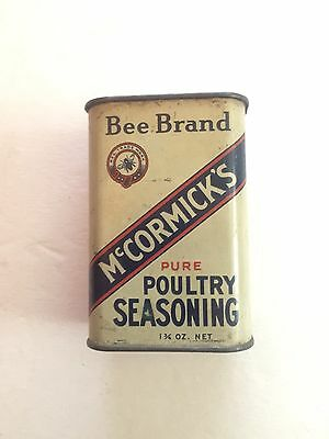 OLD McCORMICK'S BEE BRAND FINEST PURE POULTRY SEASONING KITCHEN SPICE TIN
