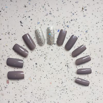 Grey And Silver Glitter Hand Painted Long Square False Nails (12 Nails)