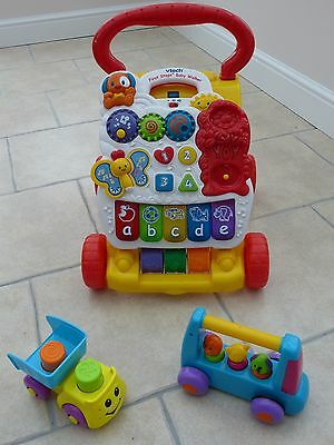 Vtech First Steps Baby Walker + Bruin Wheeled Toy + Fisher Price Tipper Truck