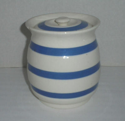 """Vintage STAFFORDSHIRE CHEFWARE BLUE & WHITE STRIPED JAR WITH LID 5.75"""""""