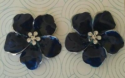 "Lindsay Phillips ""adaptable"" Navy Blue HIBISCUS SNAPS with rhinestones"
