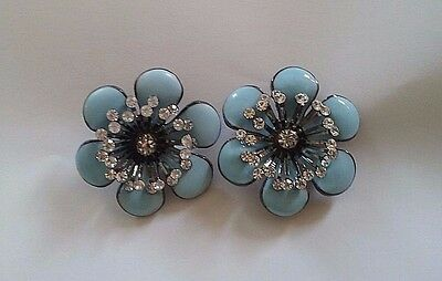 "Lindsay Phillips ""adaptable"" enameled metal LIGHT BLUE FLOWER SNAPS with rhinest"