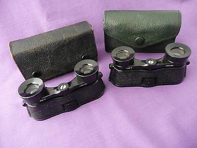 """Two Cased, Vintage Pairs Of """"kershaws"""" Patented Opera / Theatre Glasses"""