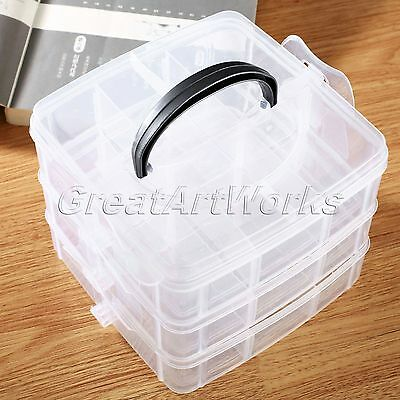 3 Layers 18 Compartments Adjustable Plastic Craft Beads Jewelry Storage Box Case