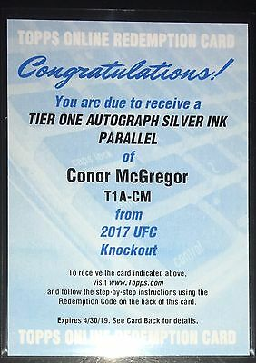 Conor McGregor 2017 Topps UFC Tier One Auto Silver Ink Parallel /10 Mayweather