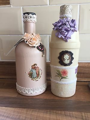 SALE! Pair Of Vintage/Shabby Chic Style Glass Bottles
