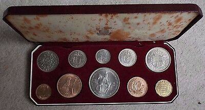 1953 Coronation Uncirculated Coin Set, Farthing - Crown. In Royal Mint Box.