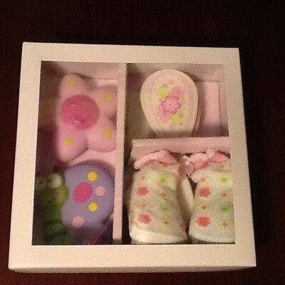 Stephan Baby Girl Box Gift Set Booties,Brush,Comb, Squirter toy NEW