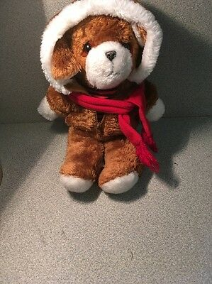 Vintage Stuffed Bear With Hood And Scarf And Zipper In Front