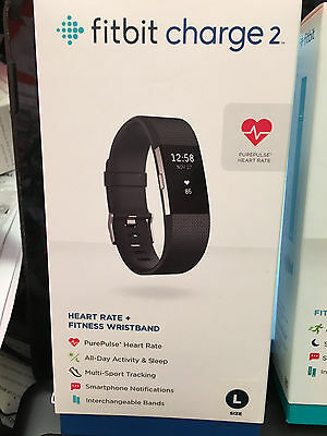 Fitbit Charge 2 Heart Rate + Fitness Wristband Black Large NEW  * Charge HR