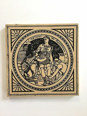 Antique Victorian Shakespeare Fireplace Tile -Minton's, 'Antony & Cleopatra IV'