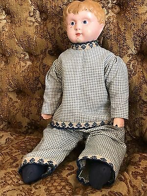 "Sweet Antique Minerva Tin Head #5 Straw Stuffed Doll Bisque Arms 13"" tall Boy??"