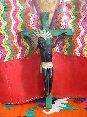 Sale*Rare vintage Black wooden Christ figure, Central American wood/metal