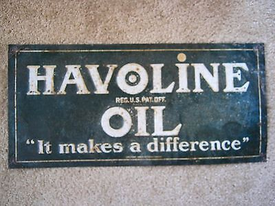 Rare Original  Refining Havoline Texaco Tin Embossed Oil Gas Station Sign