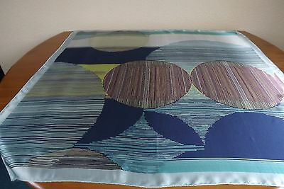 """PURE SILK TIE RACK ABSTRACT DESIGN VINTAGE SCARF. 34.5"""" x 34""""  BEAUTIFUL!"""