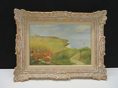 Beautiful Original Oil On Canvas Country Scene/Seascape Signed Painting 1906