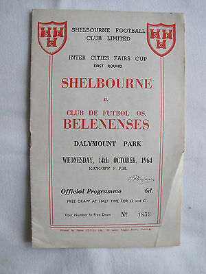 Shelbourne V Club De Futbol Os Belenenses match programme 14th October 1964