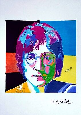 John Lennon by Andy Warhol - Ink and Pastel drawing