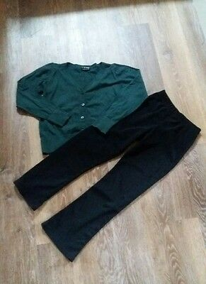 Girls age 7/8 Next green school cardigan and unbranded black trousers