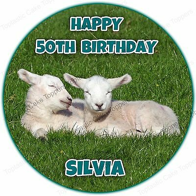 Personalised Spring Lambs Baby Sheep Edible Icing Birthday Party Cake Topper