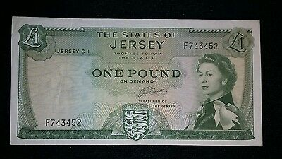 STATES OF JERSEY £1 ONE POUND BANKNOTE 1963 P8b CLENNETT VF+