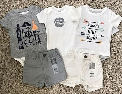 NWT Carter's Baby Infant Boys Lot Bodysuit Shorts Top Size 9 Months NEW 5 Pc