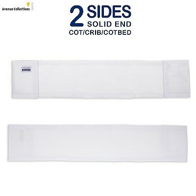 2 Sided Cot Bumpers Firm Yet Padded Adjustable 2 Piece Mesh For Baby White New