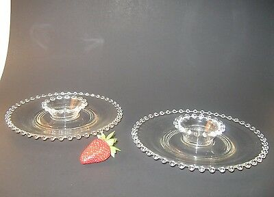 4 sets of imperial candlewick 400/83 elegant glassware 2 piece strawberry sets.