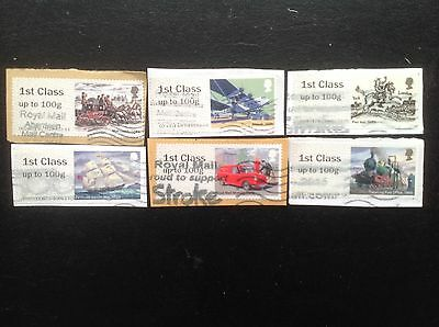 Post and Go Labels Set of ROYAL MAIL HERITAGE Used GB Stamps
