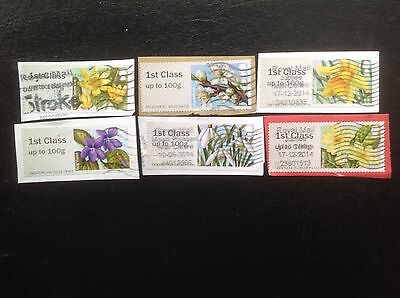 Rare Post and Go Labels Set SPRING BLOOMS FLORA from NCR Machines Used GB Stamps