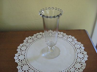 "imperial candlewick 400138b 6""  1 bead stem footed vase with beaded top rim"