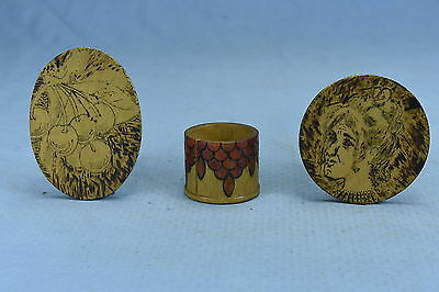 Antique MIXED LOT of 3 FLEMISH ART PYROGRAPHY STAMP HOLDER CHERRY & LADY PLAQUE